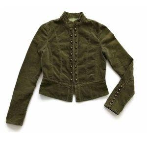 Miss Me Jacket Military Army Velvet Hooks & Eyes
